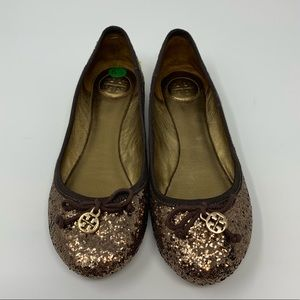 Tory Burch Copper Sparkle Flats